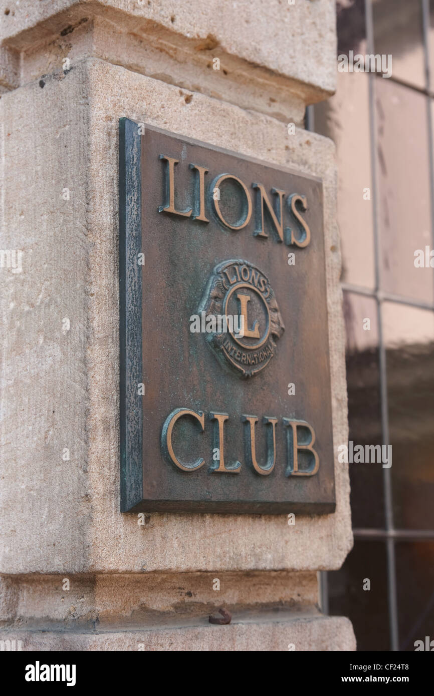 Fulda, Germany - April 24, 2011: Sign of the Lions Club in Fulda. Lions Club International is an exclusive business - Stock Image