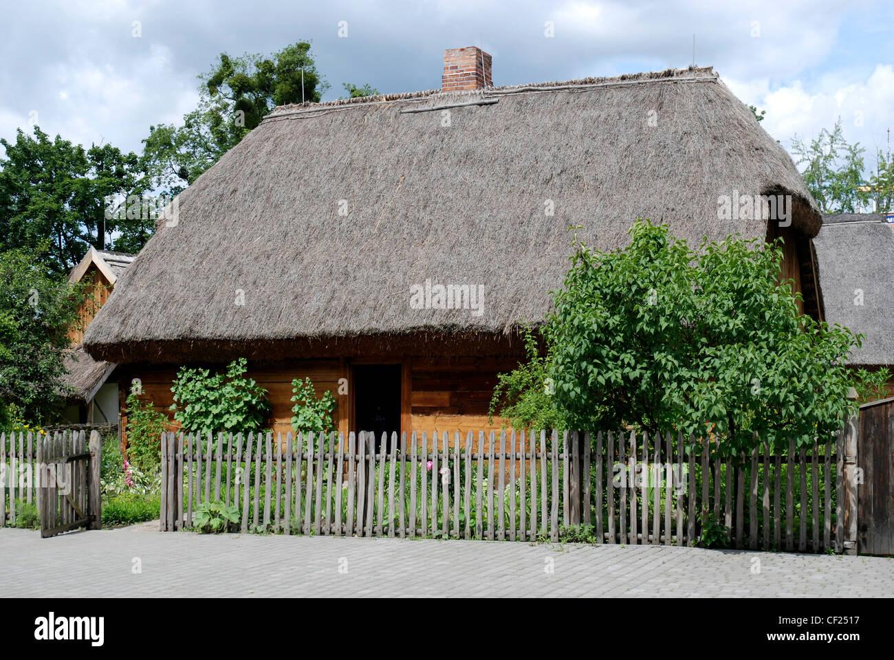 Farm house at the Farmhouse museum of Torun - Muzeum Etnograficzne. Stock Photo