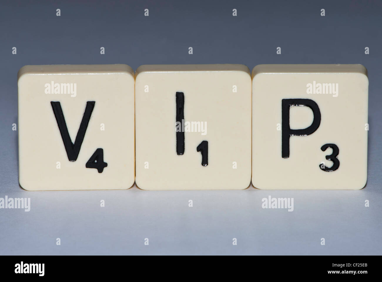 Letters spelling the word VIP - Stock Image