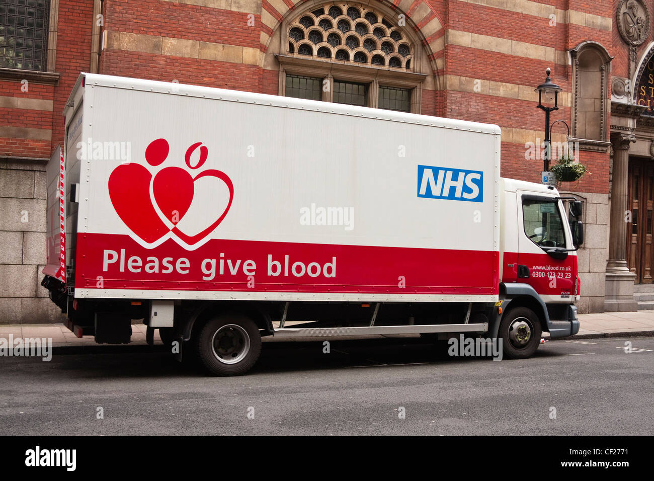 NHS Blood and Transplant (The National Blood Service) lorry - Stock Image