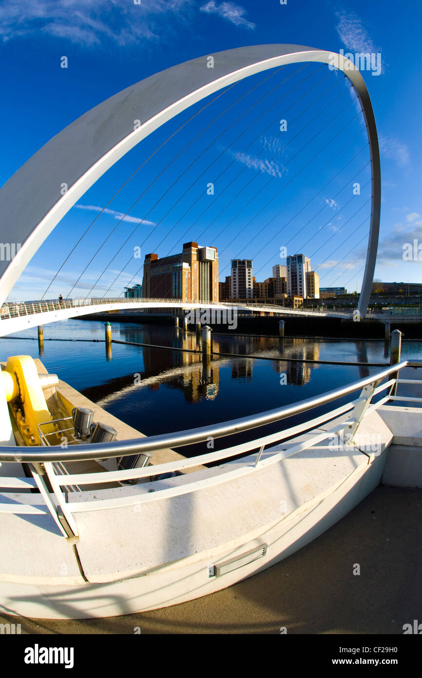 The Gateshead Millennium Bridge and Baltic Gallery on the Newcastle upon Tyne river quayside. Stock Photo