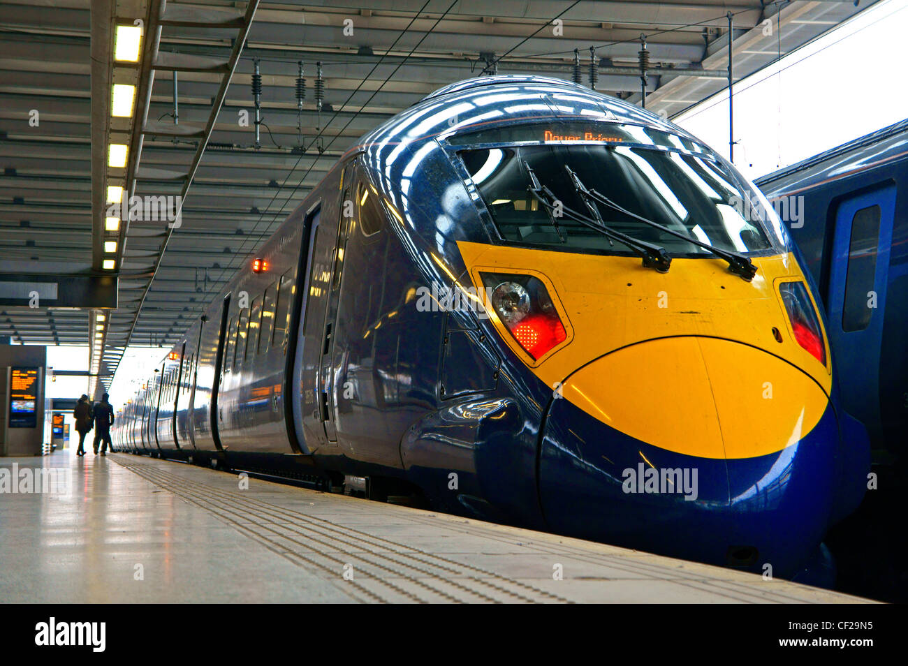 A high speed Javelin train alongside the platform at St Pancras station. The trains are used to operate a high speed - Stock Image