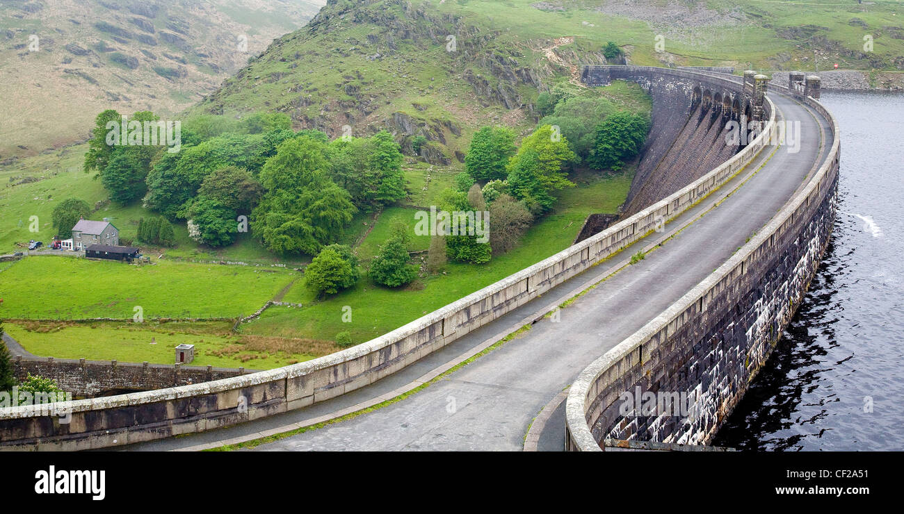 Looking over one of many dams in The Elan Valley near Aberystwyth. - Stock Image
