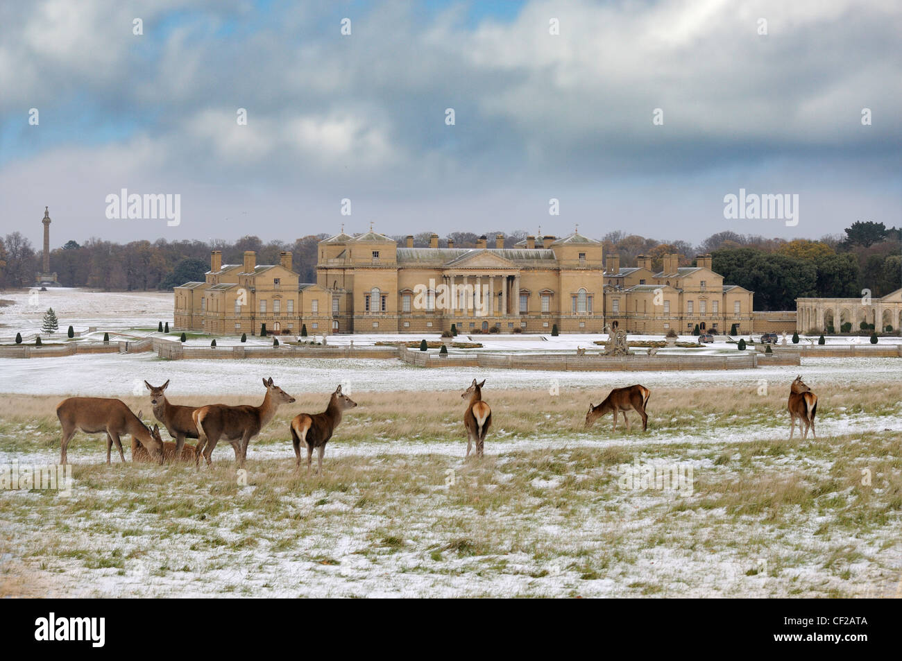 Holkham Hall and estate after a snowfall, with deer in foreground. - Stock Image