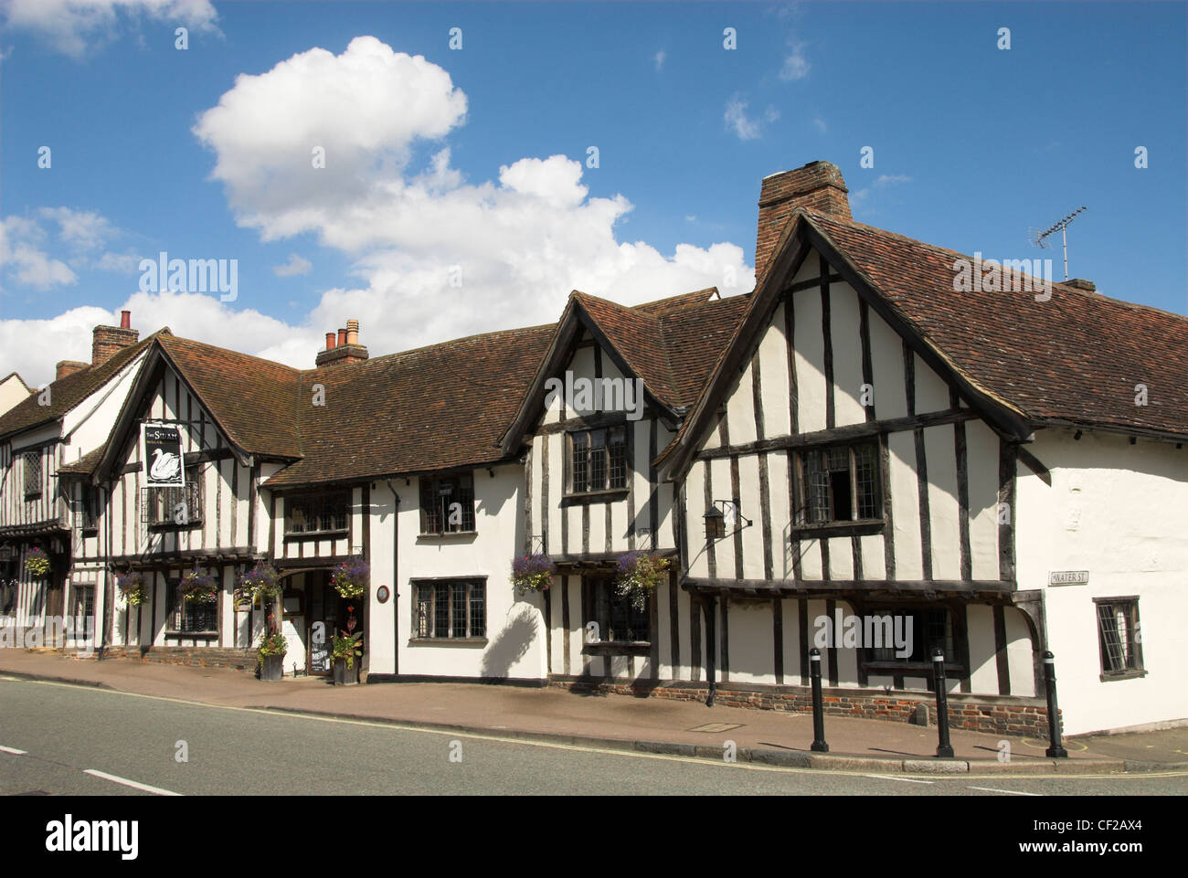 The Swan Hotel, an English country hotel in a half-timbered medieval building dating back to the 15th century. - Stock Image