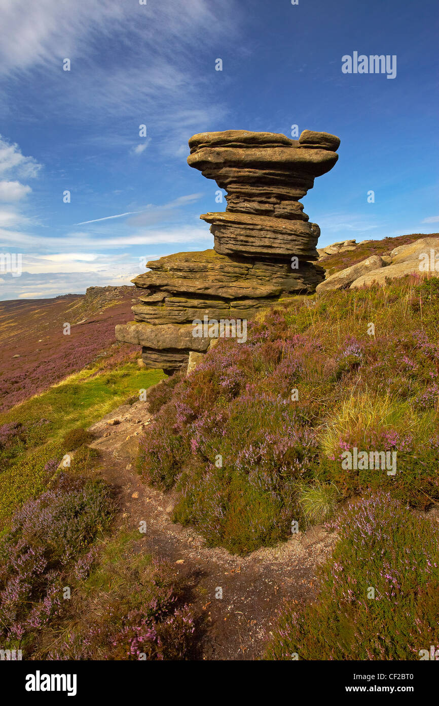 The Salt Cellar rock formation on Derwent Moor in the Peak District National Park. - Stock Image