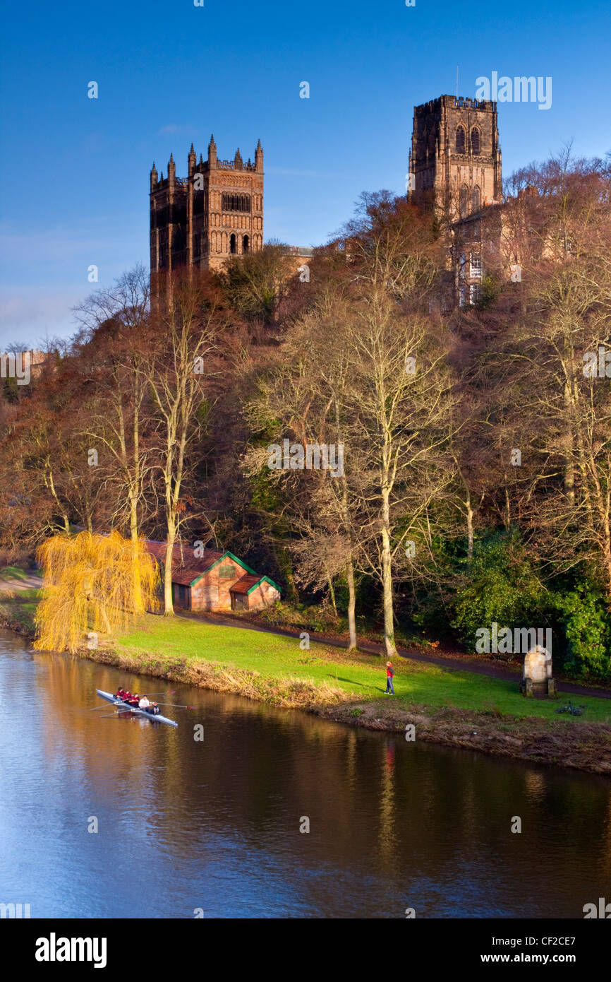 Rowing on the River Wear below Durham Cathedral. Stock Photo