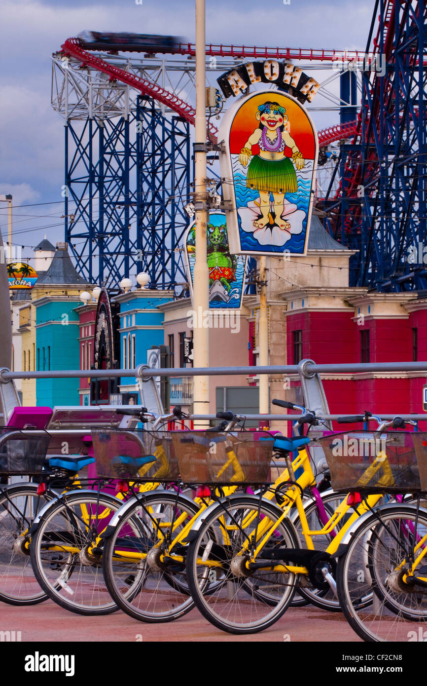 Blackpool's bike hire scheme (Bike for all) is modelled on the popular Parisian scheme which allows residents - Stock Image