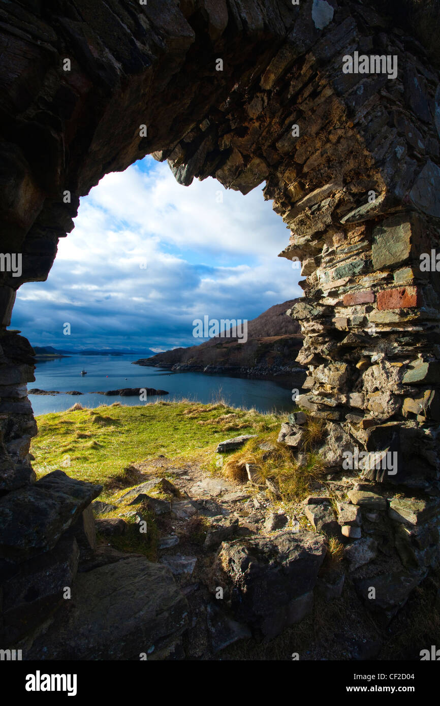 The enigmatic ruins of Strome Castle, situated alongside Loch Carron. Stock Photo