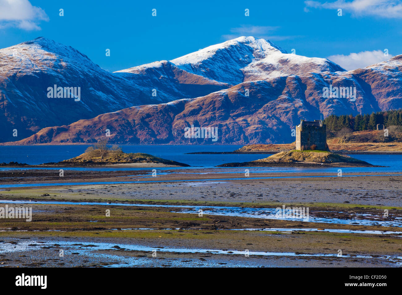 Castle Stalker near Port Appin is a four story Tower House located on a tidal islet on Loch Laich, an inlet off - Stock Image