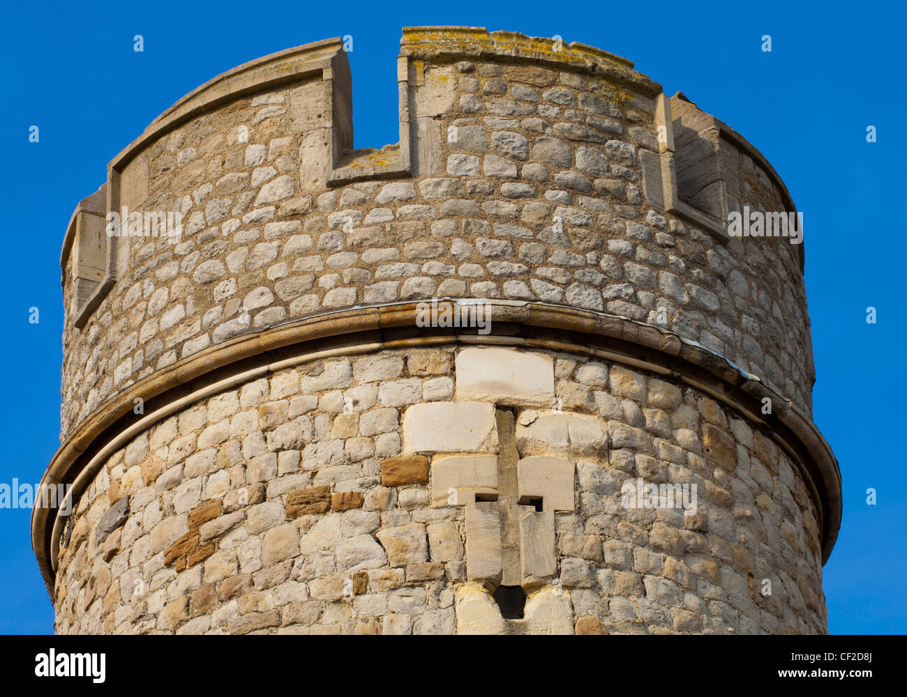 Close up view of one of the towers of the Tower of London, located on the north bank of the River Thames. Stock Photo