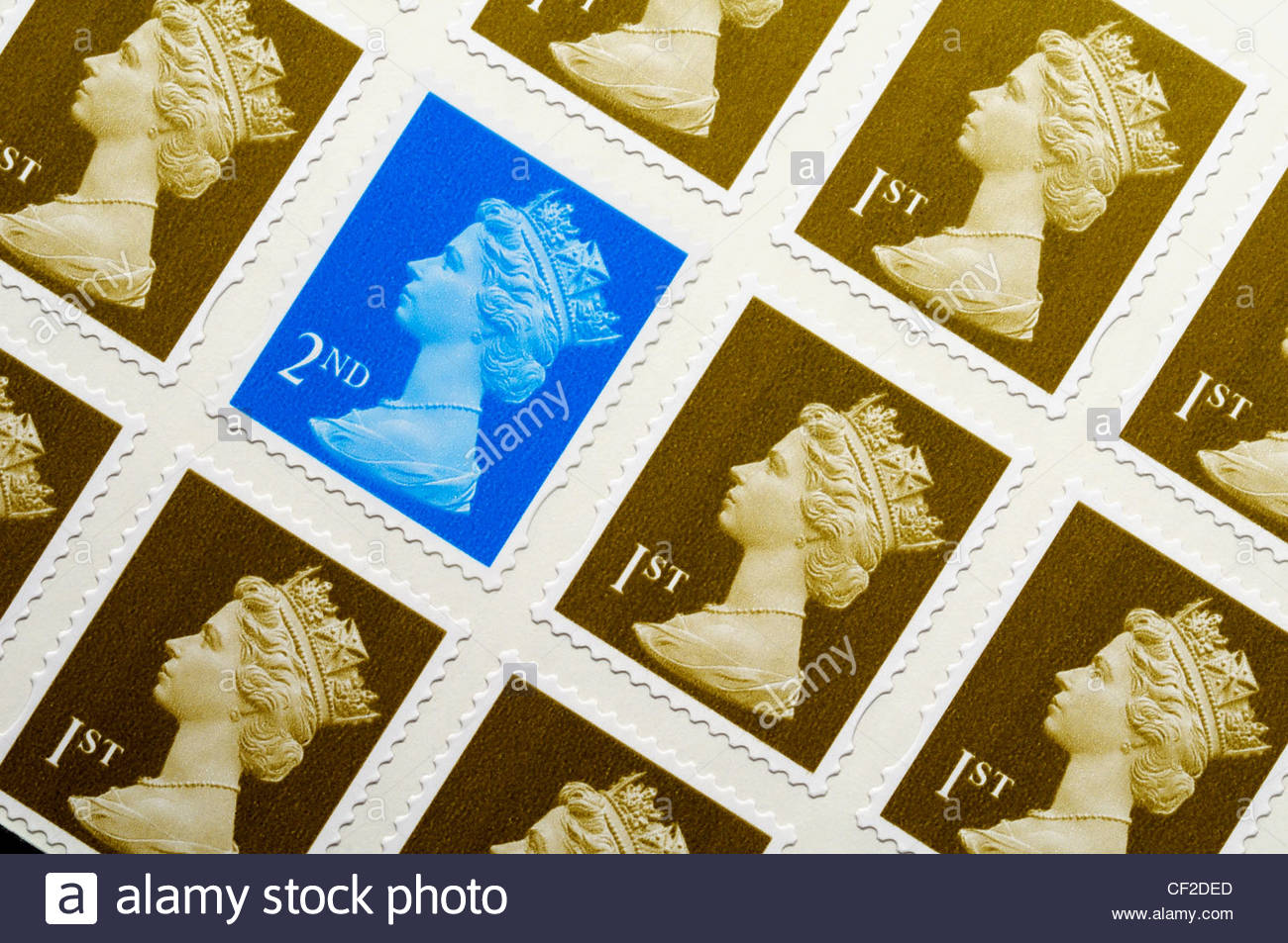 First and second Class Postage stamps, England - Stock Image