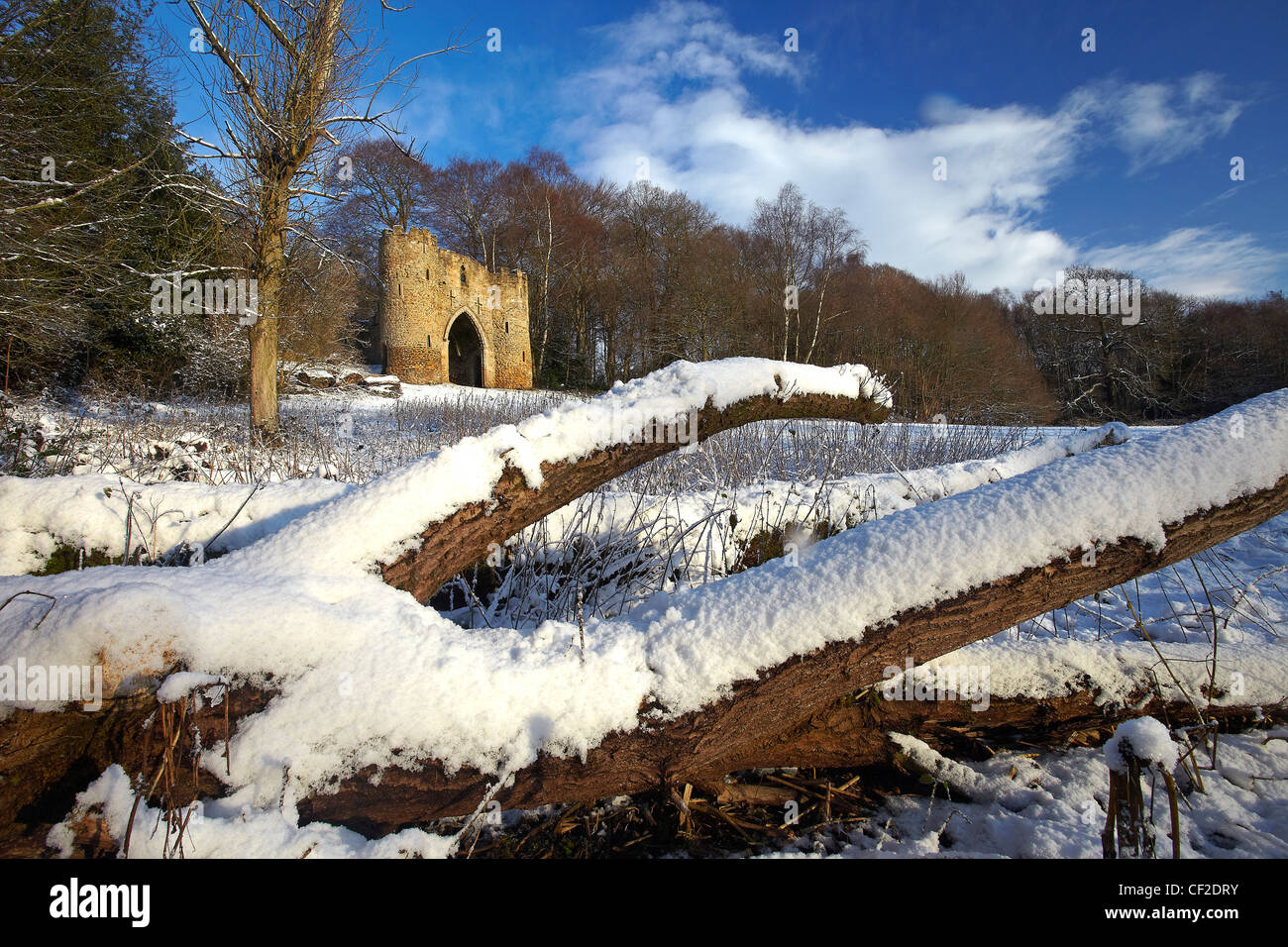 Snow covering the ground around the castle in Roundhay Park, one of the biggest city parks in Europe. The castle Stock Photo