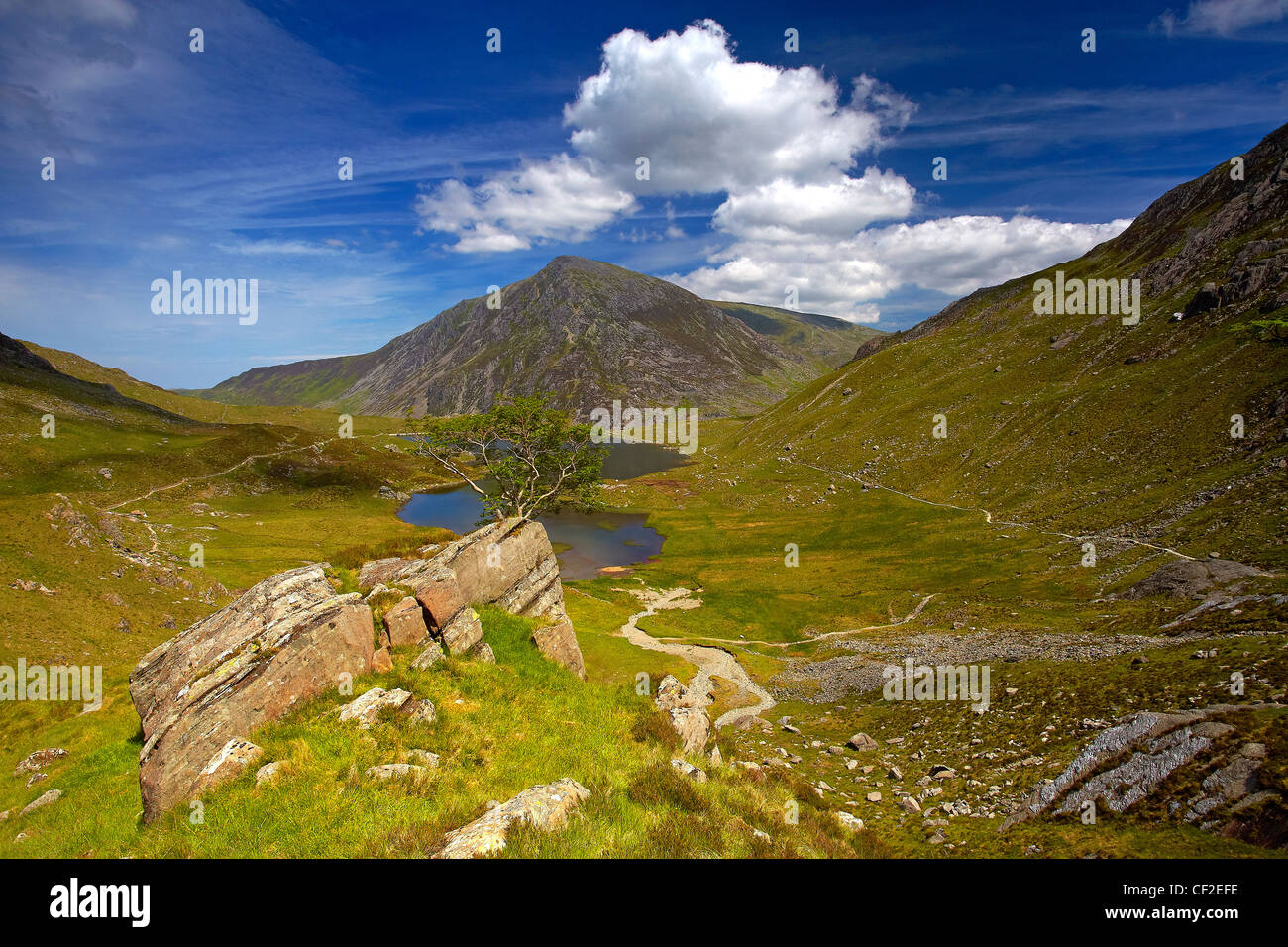 View of Pen Yr Ole Wen, the seventh highest mountain in Snowdonia and in Wales, from a path above Llyn Idwal in - Stock Image