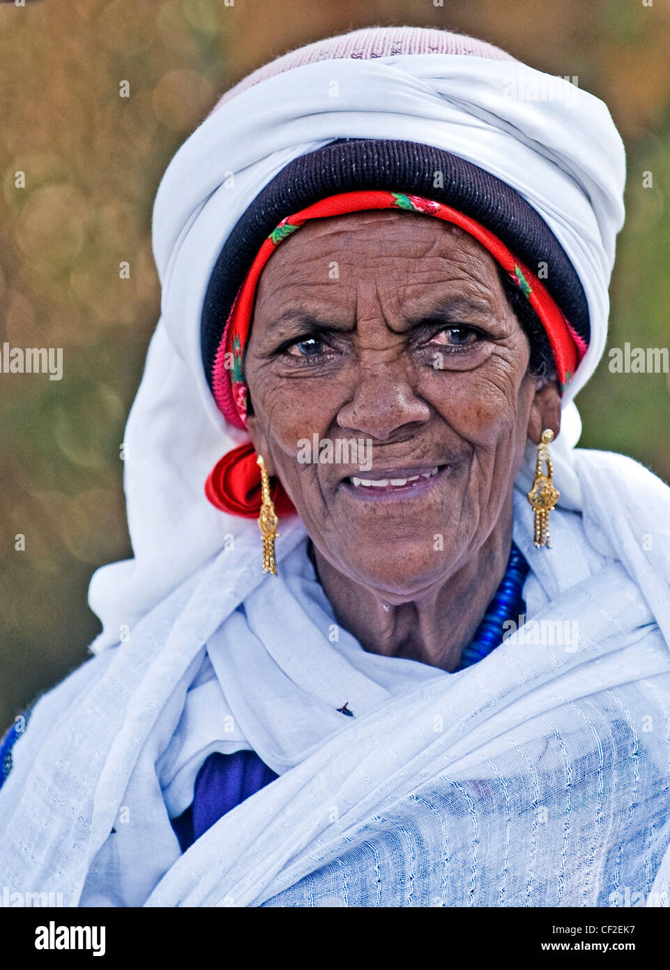 Portrait of Ethiopian Jew woman during the 'Sigd' holiday in Jerusalem - Stock Image