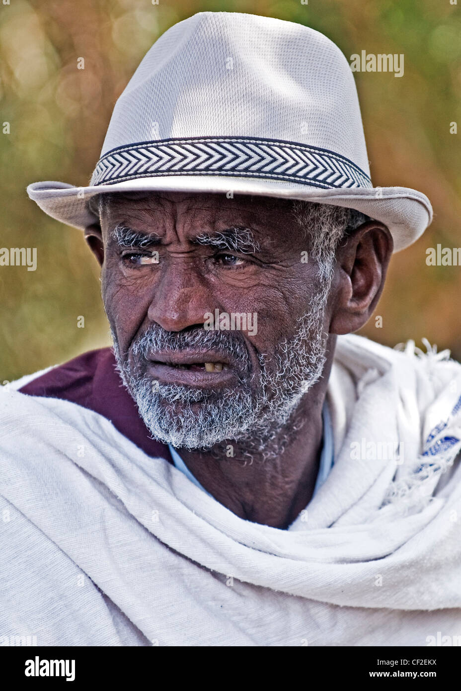 Portrait of Ethiopian Jew man during the 'Sigd' holiday in Jerusalem - Stock Image