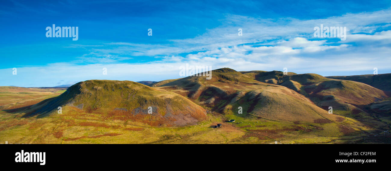 Panoramic view of Lamb Hill in the Cheviot Hills, part of the Northumberland National Park. - Stock Image