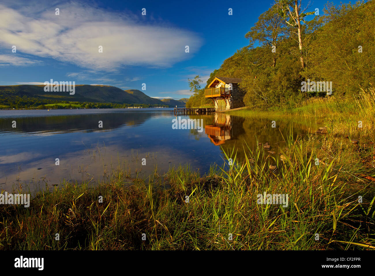 The Duke of Portland Boathouse at the top of Lake Ullswater. Stock Photo