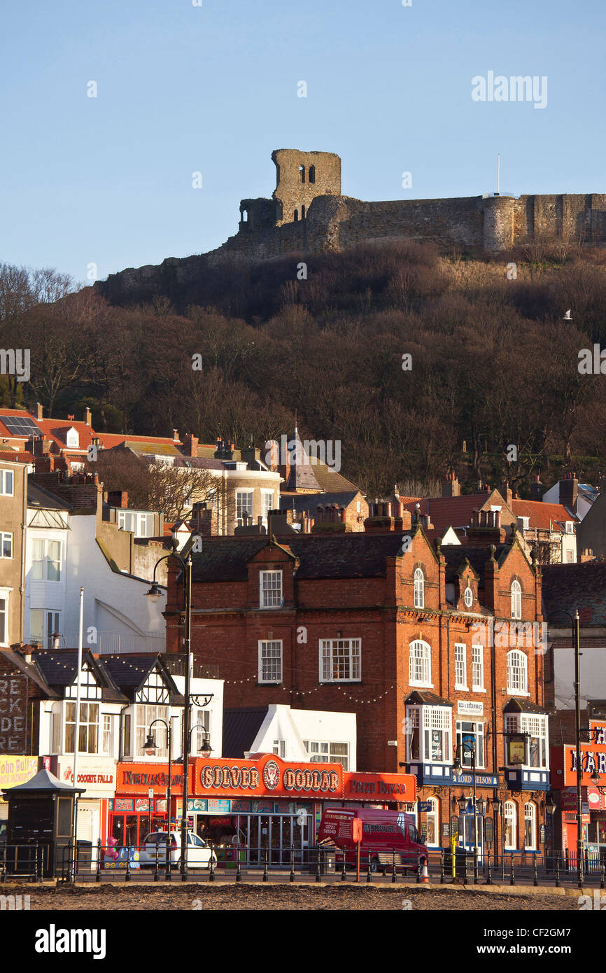Scarborough Town and Castle from the South Bay - Stock Image