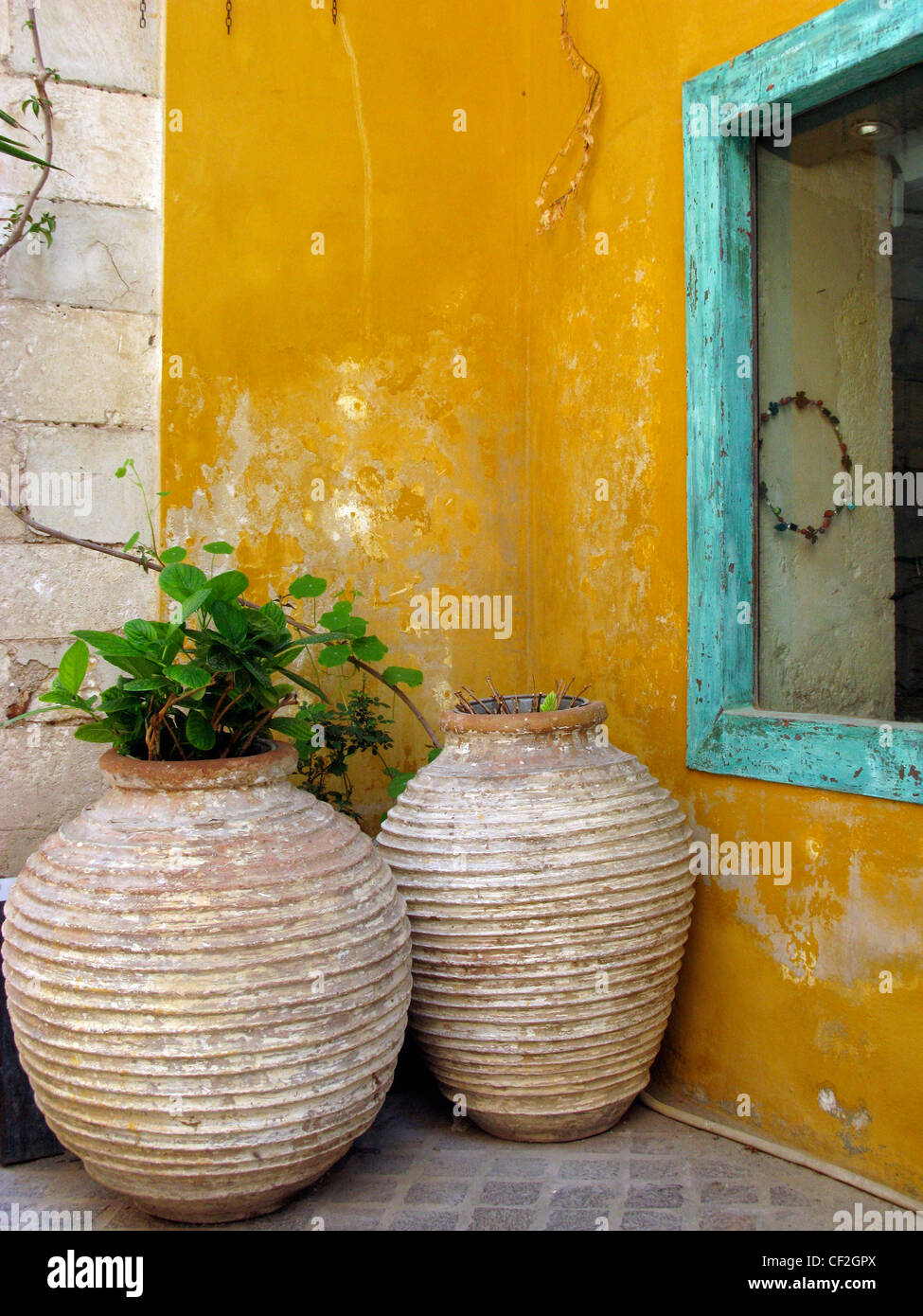 Vases, Chania Old Town, Crete, Greece - Stock Image