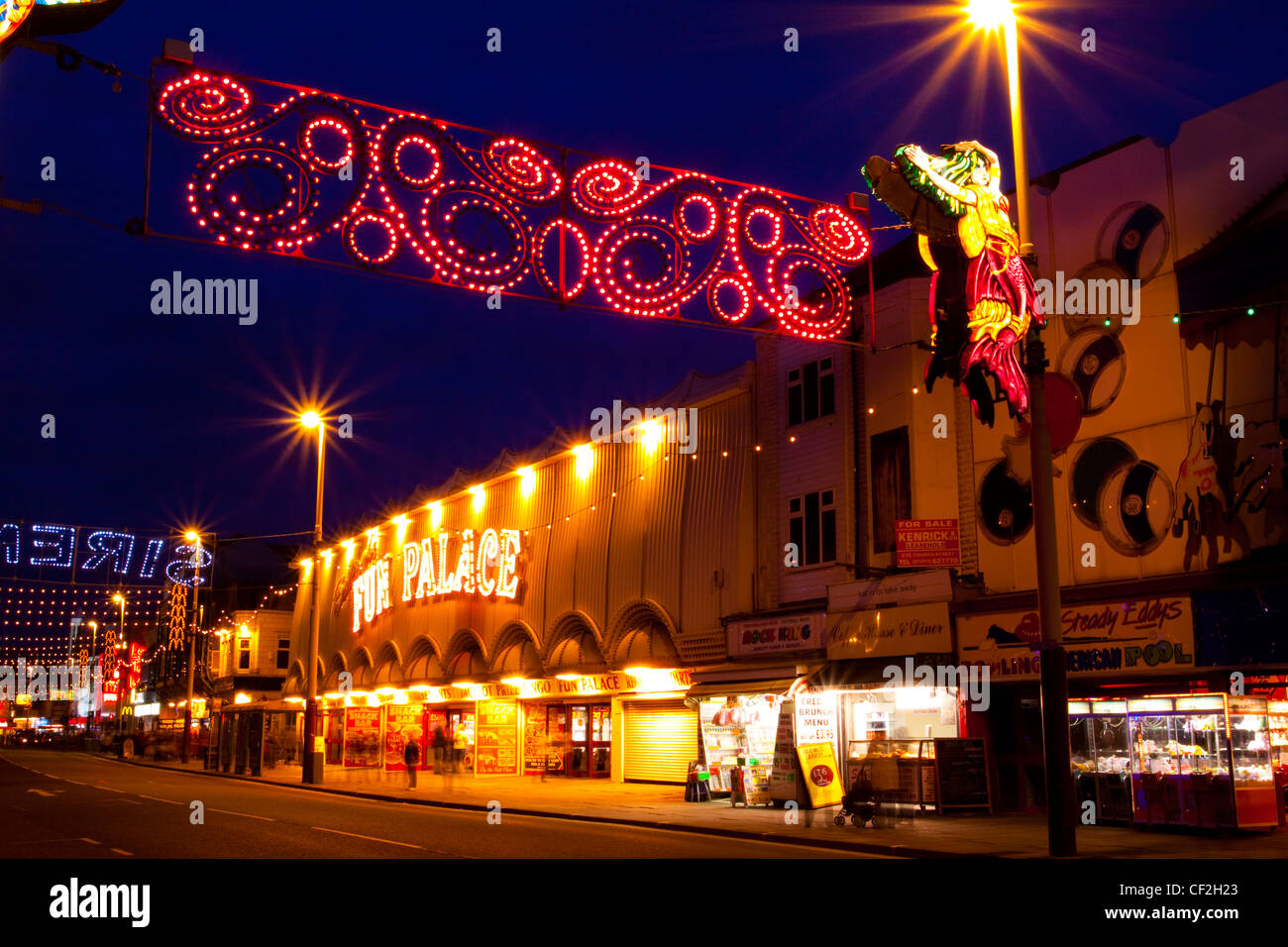 Blackpool Illuminations on the Blackpool Golden Mile. - Stock Image