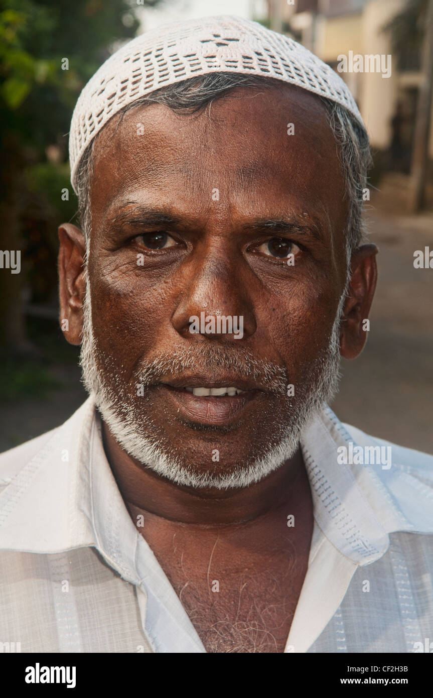 portrait of a Muslim man in Galle, Sri Lanka Stock Photo