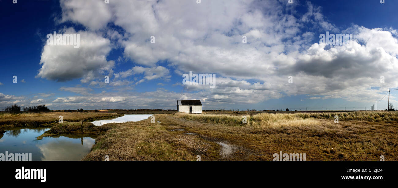 A panoramic view of the saltings near Wallasea Island. - Stock Image
