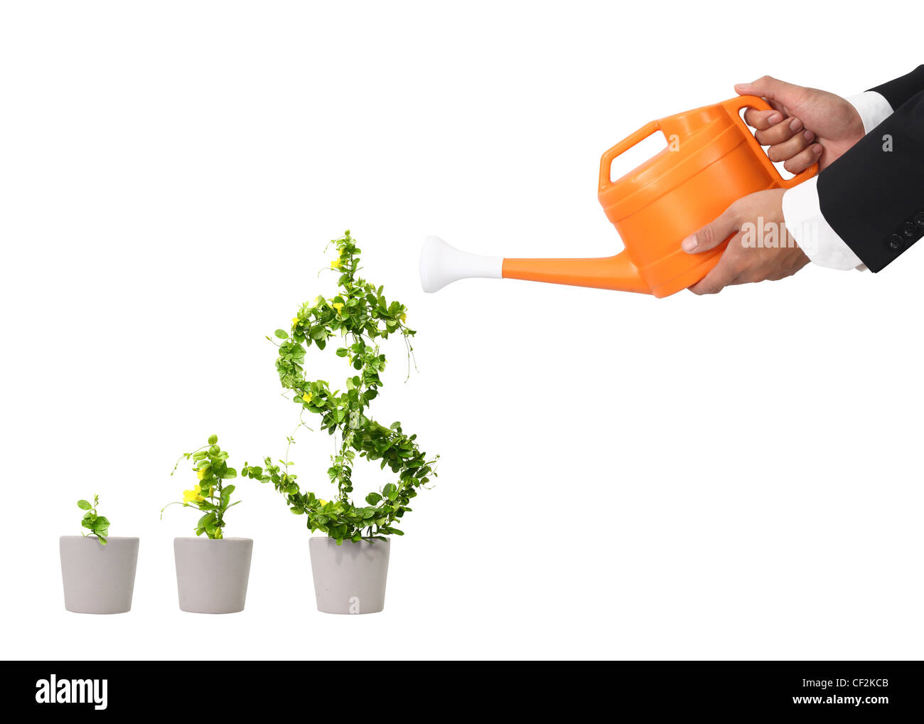 hand business man and orange water can (path in side) - Stock Image