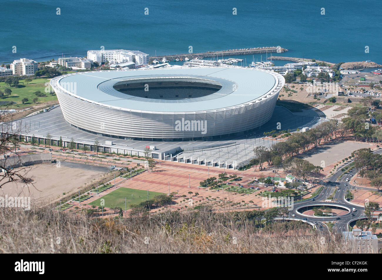 Cape Town Stadium built for World Cup Soccer the remains of Green Point Stadium are on the left - Stock Image
