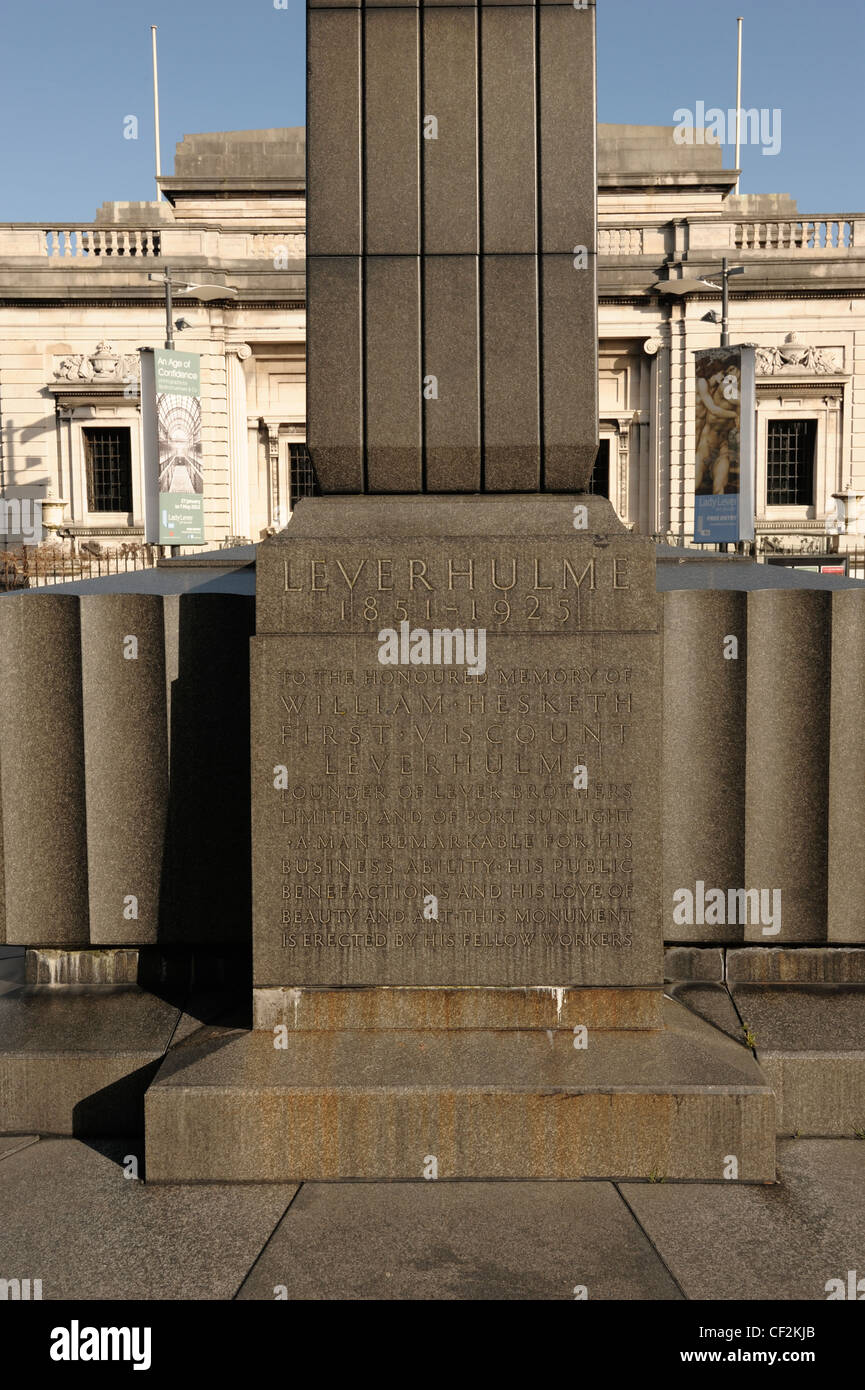 Detail of Lord Leverhulme Memorial outside the Lady Lever Art Gallery Port Sunlight Village - Stock Image