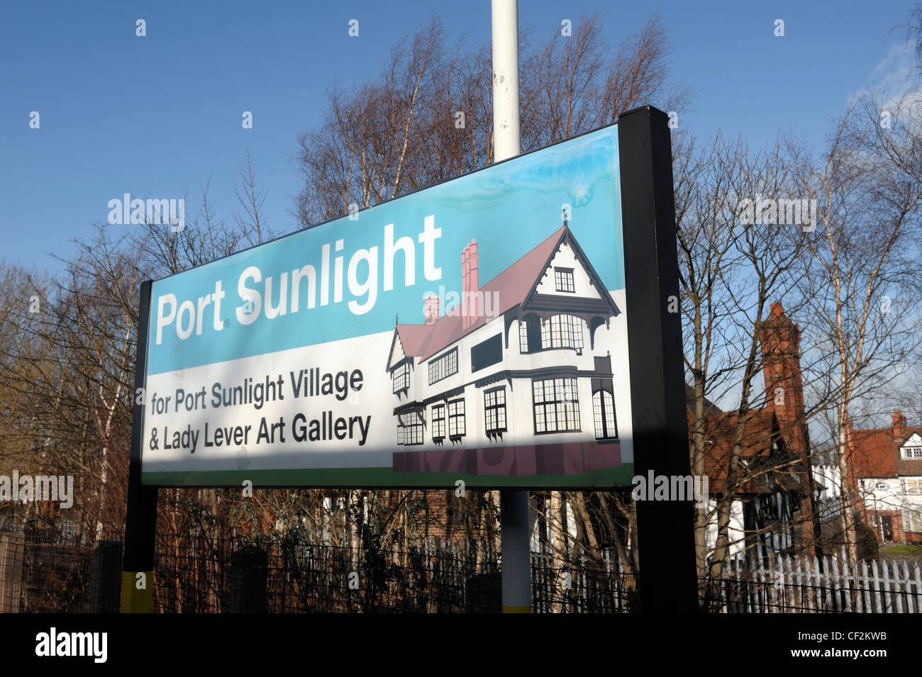 Port Sunlight Village and Lady Lever Art Gallery Sign - Stock Image