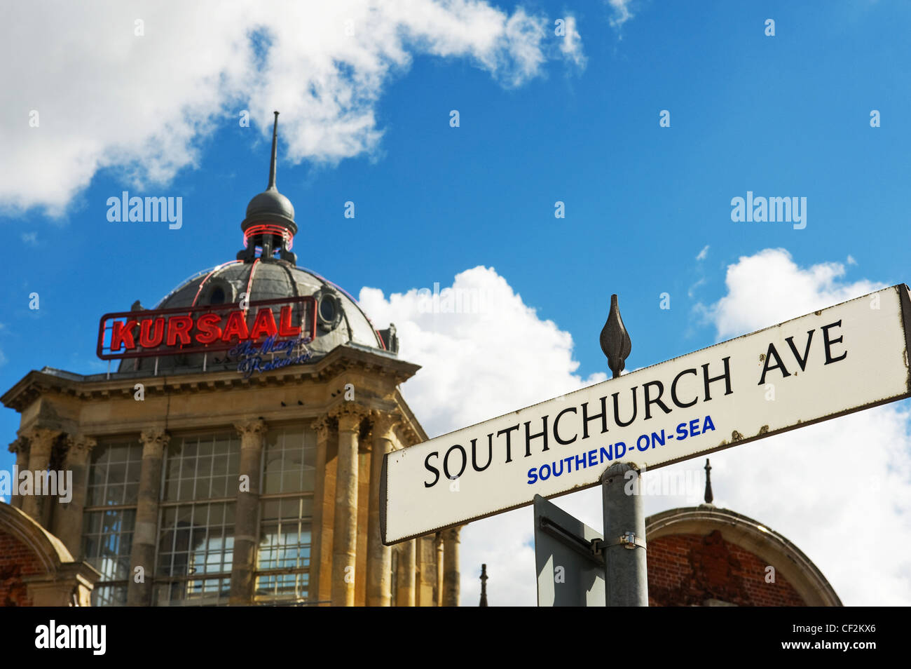 The Kursaal in Southend-on Sea. The Kursaal bulding was completed in 1901 and formed the entrance to the worlds Stock Photo