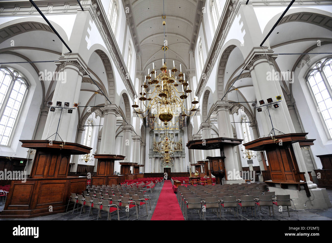 Interior views of the Westerkerk church in Amsterdam, Netherlands. - Stock Image
