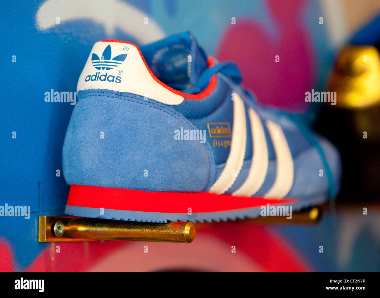 Adidas trainer in display for sale - Stock Image
