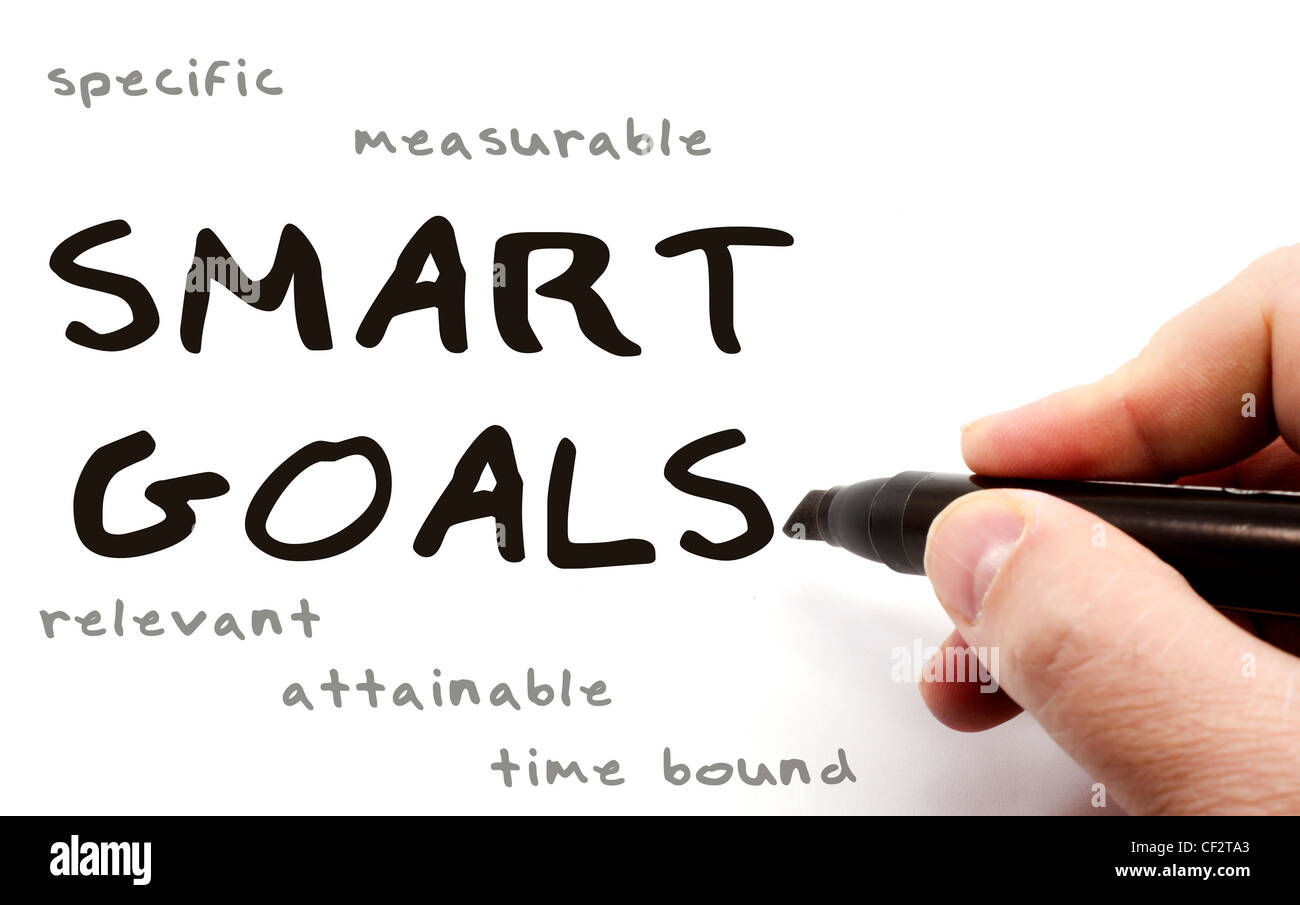 A hand writing Smart Goals with a black pen with the words specific, measurable, relevant, attainable, and time - Stock Image