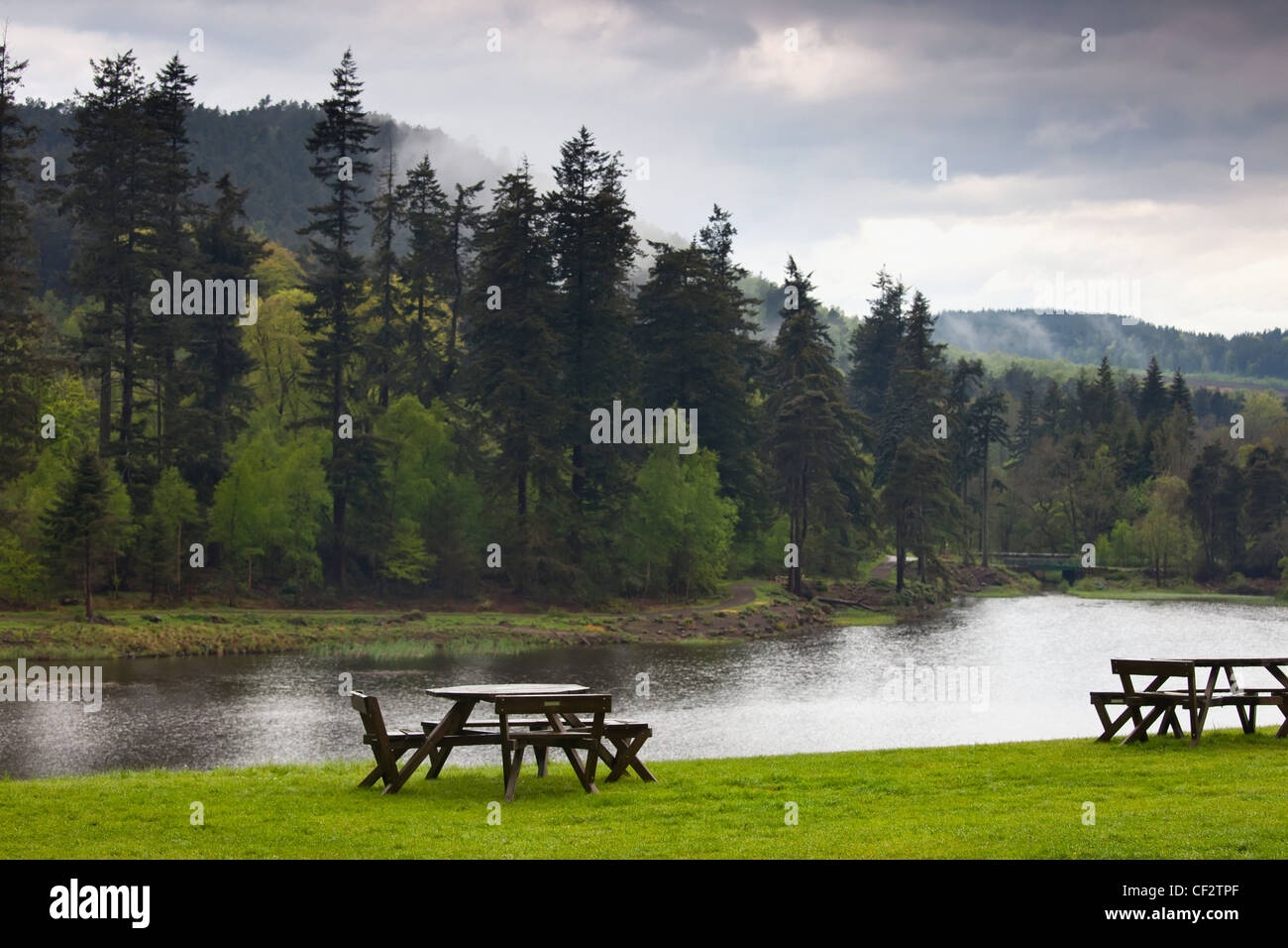 Picnic Tables Along The Edge Of The Water; Rothbury Northumberland England - Stock Image