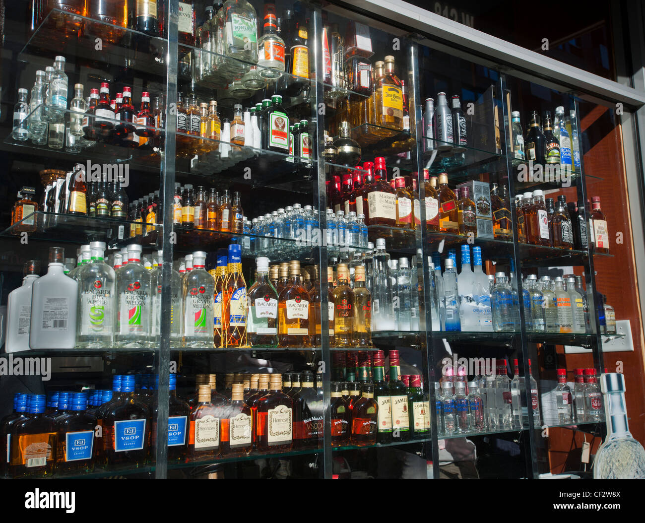 A selection of bottles in the window of a liquor store in New York is seen on Tuesday, February 28, 2012. (© Richard Stock Photo