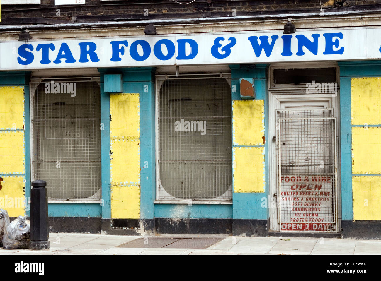 Shop in Old Street. Old Street was recorded as Ealdestrate in c. 1200 and le Oldestrete in 1373. - Stock Image