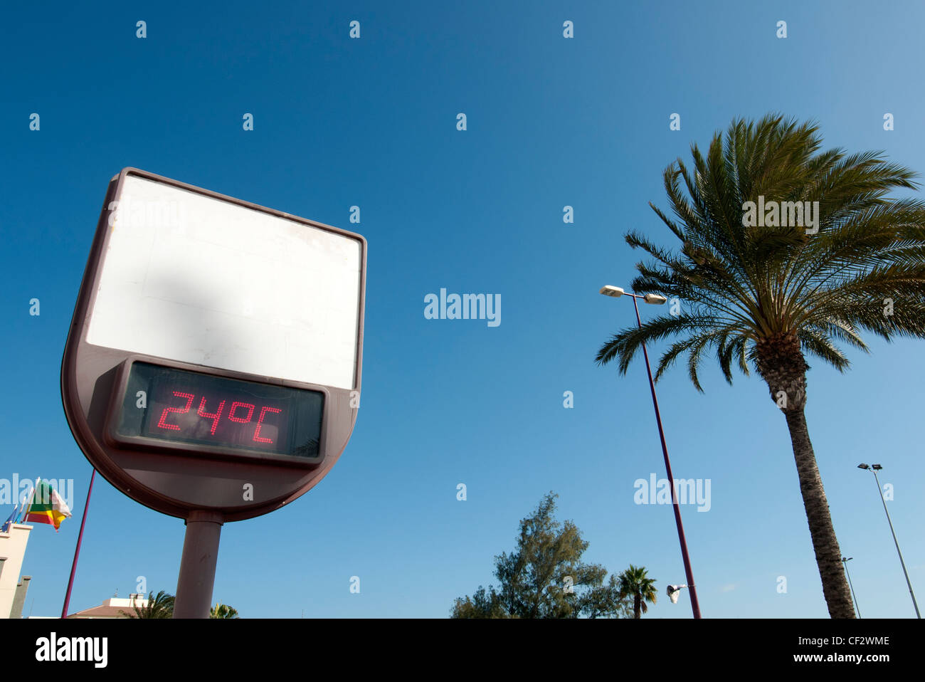 24 degrees celsius street sign giving temperature - Stock Image