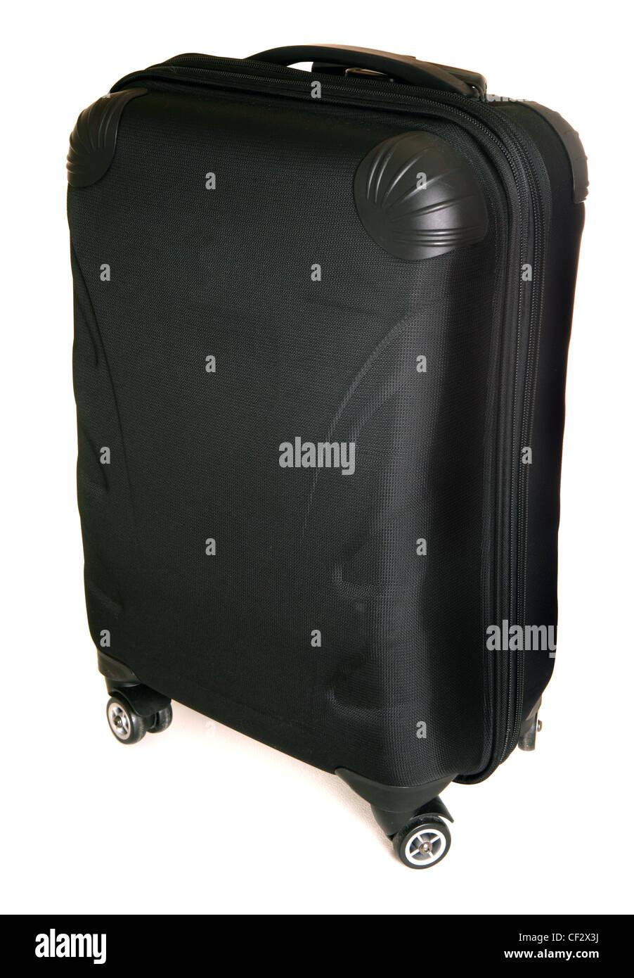 four wheeled suitcase on white background - Stock Image