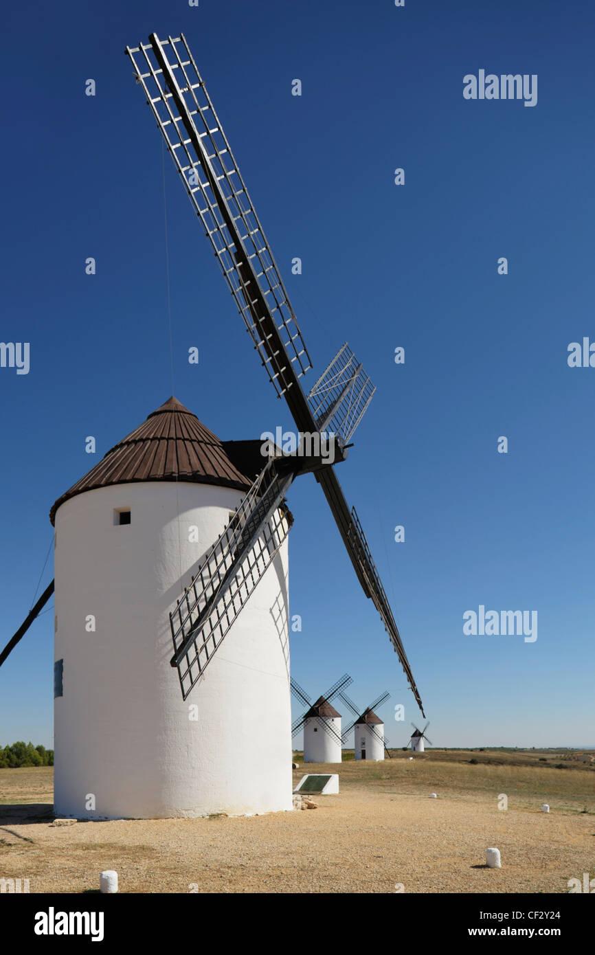 Windmills Of La Mancha; Mota Del Cuervo Cuenca Castilla La Mancha Spain - Stock Image