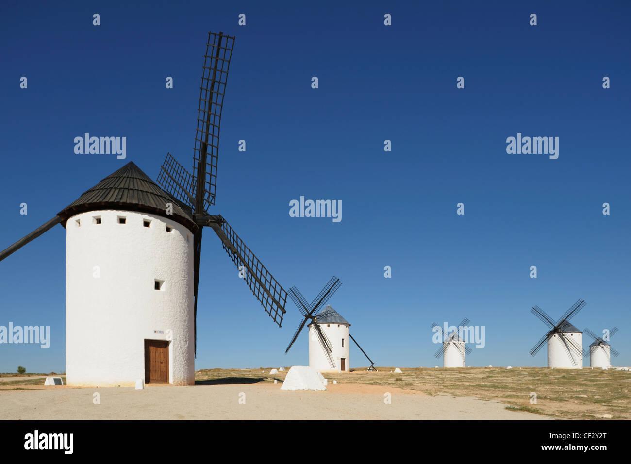 Windmills Of La Mancha; Campo De Criptana Ciudad Real Castilla La Mancha Spain - Stock Image
