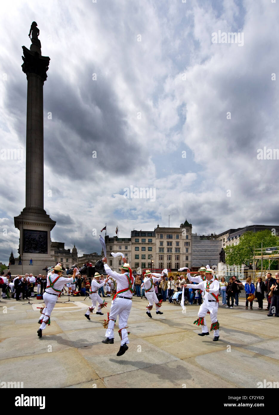 Dolphin Morris Men dancing at the Westminster Day of Dance in Trafalgar Square. - Stock Image