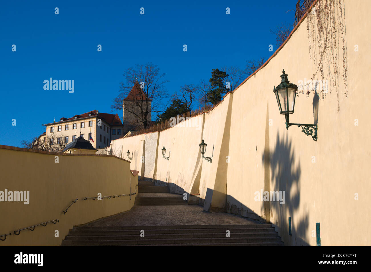 Stare zamecke schody stairs Hradcany the castle district Prague Czech Republic Europe - Stock Image