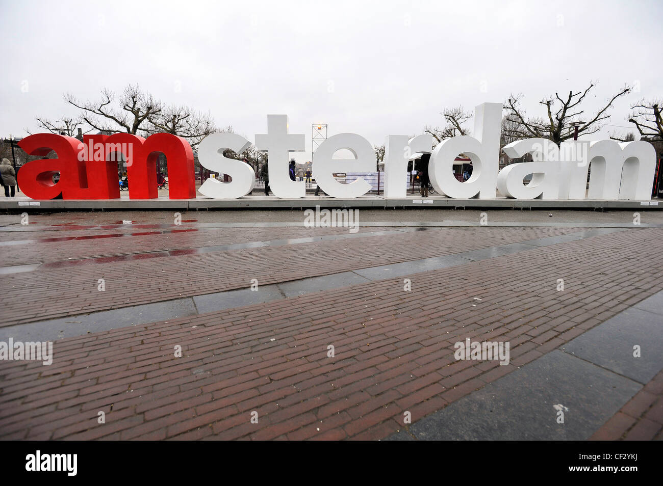Large metal letters spell out 'amssterdam. in Museumplein, Amsterdam, Netherlands. - Stock Image