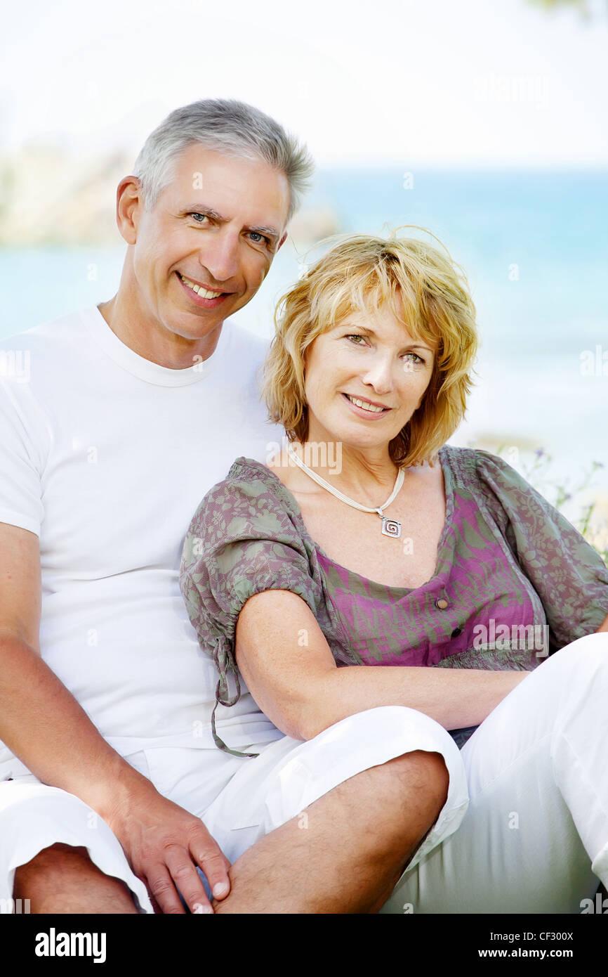 Happy mature couple outdoors. Stock Photo