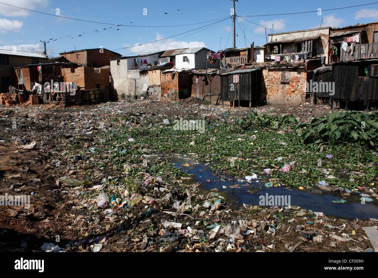 A residential neighbourhood in Madagascar's capital Antananarivo. - Stock Image