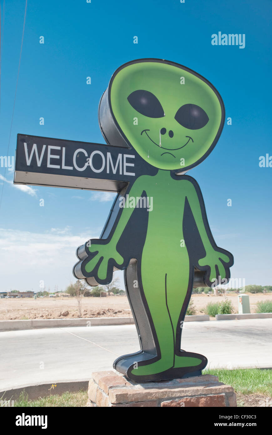 Aliens and UFO's are the theme of the town in Roswell, New Mexico. - Stock Image