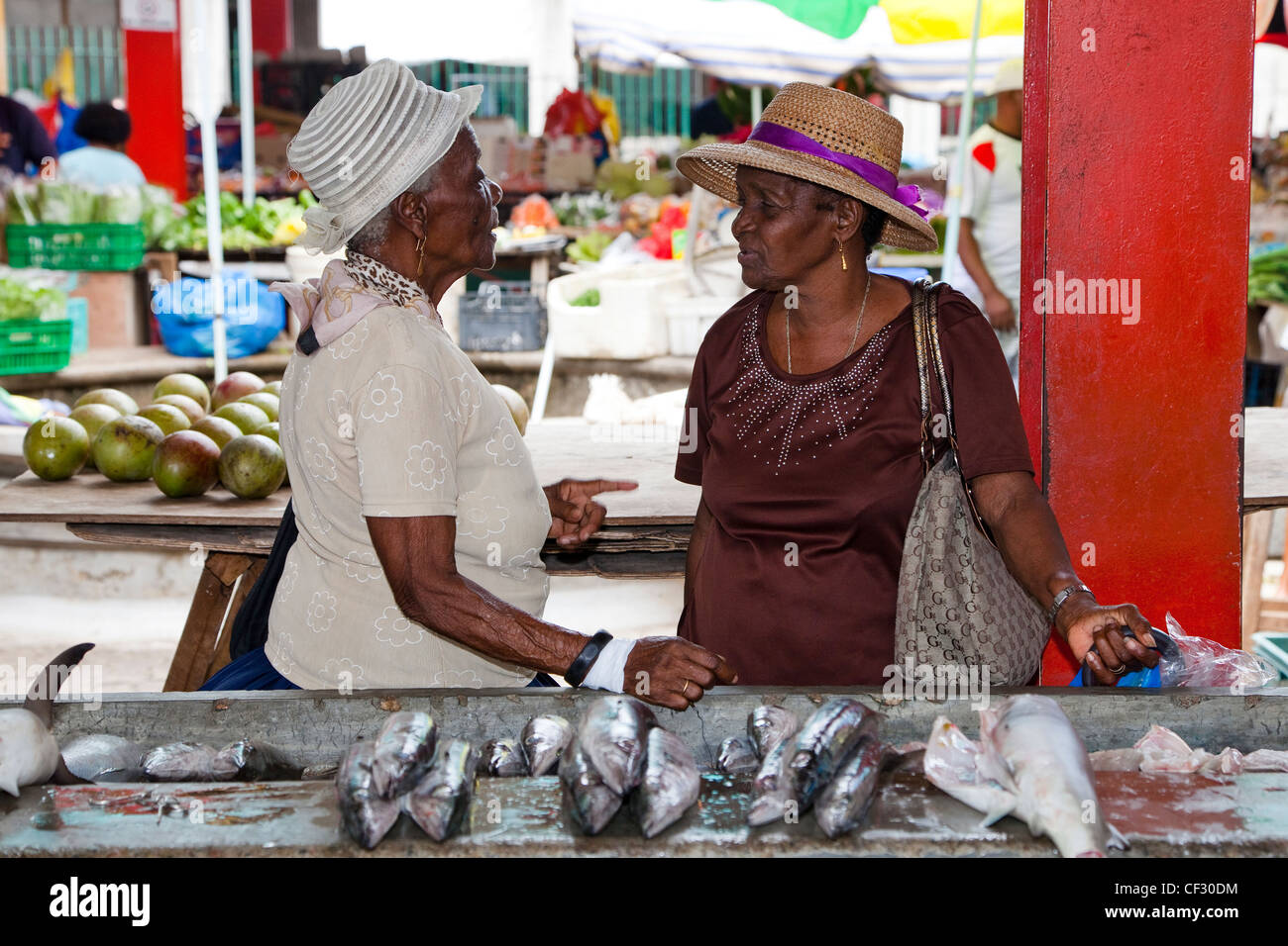Two local elderly women meeting at the Sir Selwyn Clark fish market, Victoria, Mahe, Seychelles - Stock Image