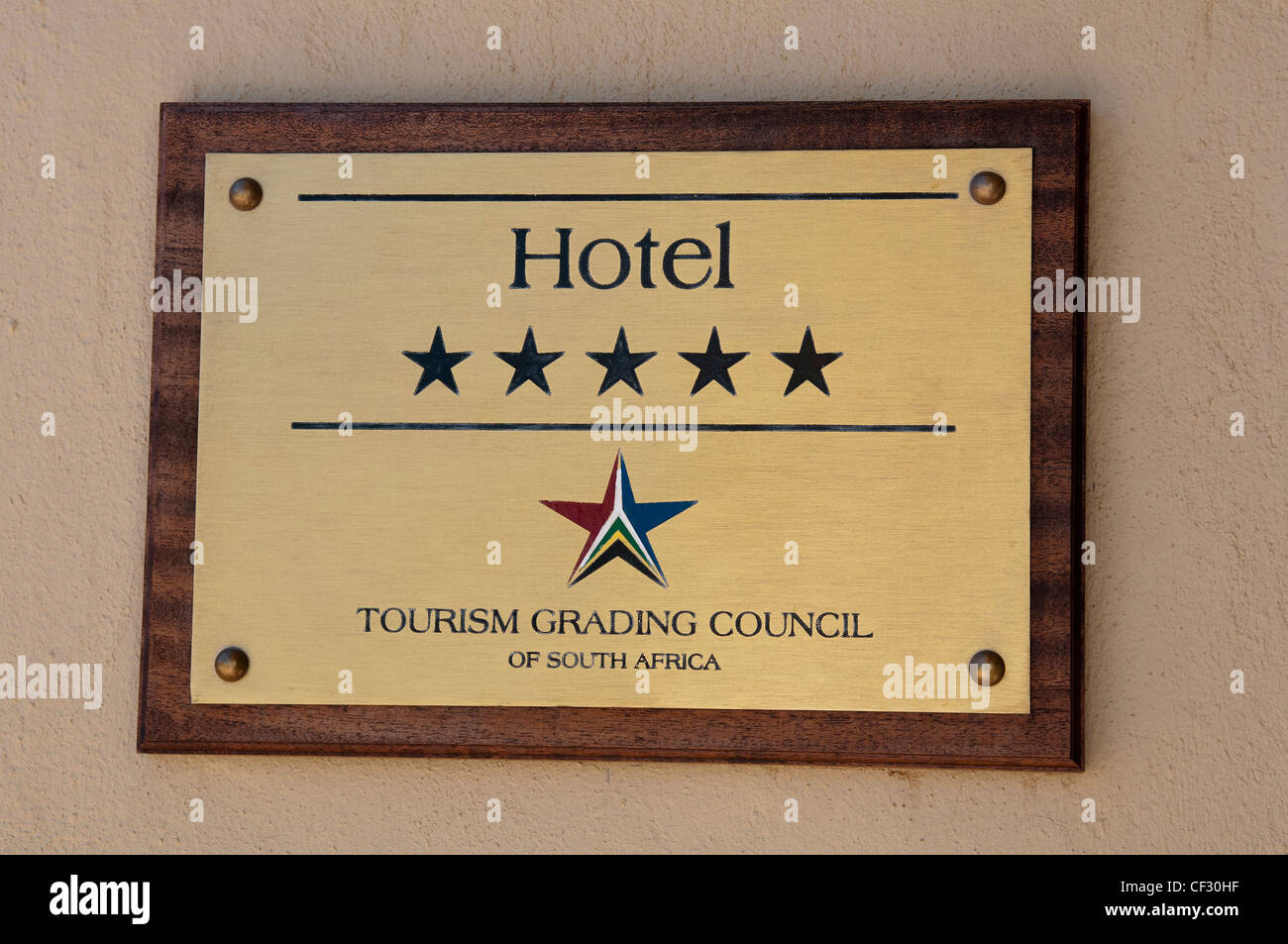 5 Star hotel sign of the South African Grading Council - Stock Image